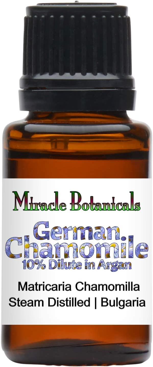 Miracle Botanicals German (Blue) Chamomile Essential Oil - 10% Dilute in Golden Argan Oil - Matricaria Chamomile - 15ml or 30ml Sizes - Therapeutic Grade - 15ml