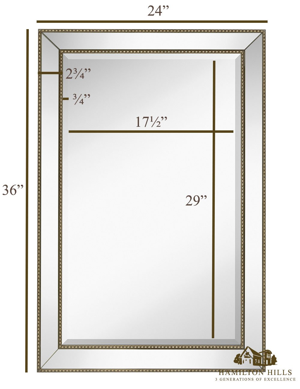 Large Framed Wall Mirror with Angled Beveled Mirror Frame and Beaded ...