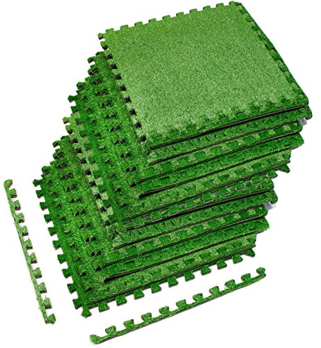 Sorbus Grass Mat Interlocking Floor Tiles – Soft Artificial Grass Carpet – Multipurpose Foam Tile Flooring – Patio, Playroom, Gym, Tradeshow 48 Sq ft (12 Tiles, Borders) - Balance Play Carpet