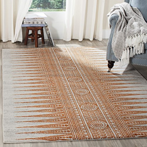 Geometric Spike (Tribal Geometric Spikes Design Area Rug, Rustic Exotic Dotted Medallion Themed, Rectangle Indoor Living Room Hallway Adults Bedroom Carpet, Country Style Western Pattern, White, Brown, Size 5'1 x 7'6)