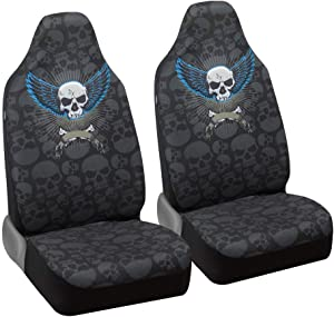 BDK carXS Winged Skull Car Seat Covers – Universal Fit High-Back Front Seat Cover Protector with Skull Pattern for Car Truck Van and SUV