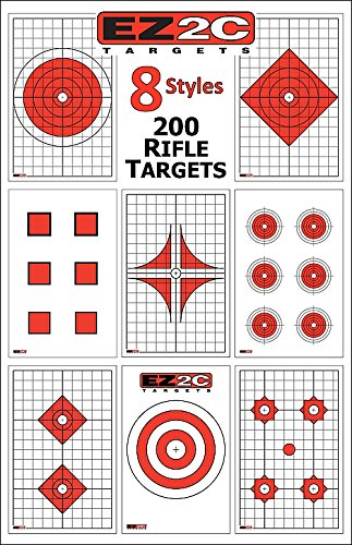 EZ2C The Ultimate Rifle and Pistol Shooting Pack | High Visibility Paper Targets for Shooting Range | Target Shooting Paper | Long Range | 200 Pack (8 Styles) | 11