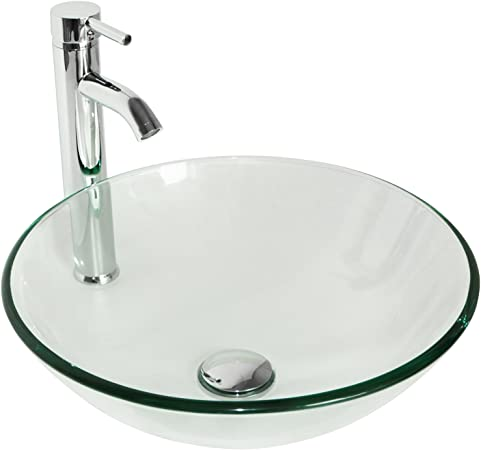 Hand Made Oblong Bath Bathroom Tempered Glass Vessel Sink Faucet And Drain Combo