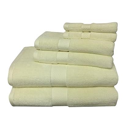 6pc crema mezcla de rayón de bambú toalla Set, incluye 2 toallas de ducha,