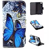 Galaxy Core LTE Case, Chinstyle Samsung Galaxy Core LTE G386W G386F Case PU Leather Wallet Case Magnetic Closure Blue Butterfly Pattern Flip Cover