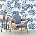 """HaokHome 1404 Tropical Palm Leaf Wallpaper White/Blue/Silver/Beige for Home Accent Wall Decor 20.8""""x 33ft"""