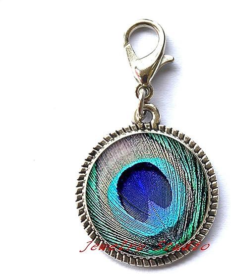 Charming fashion Locket Necklace,Fashion Peacock Locket Necklace Fashion Blue /& Green peacock feather Locket Pendant Long chain peacock jewelry-HZ00169