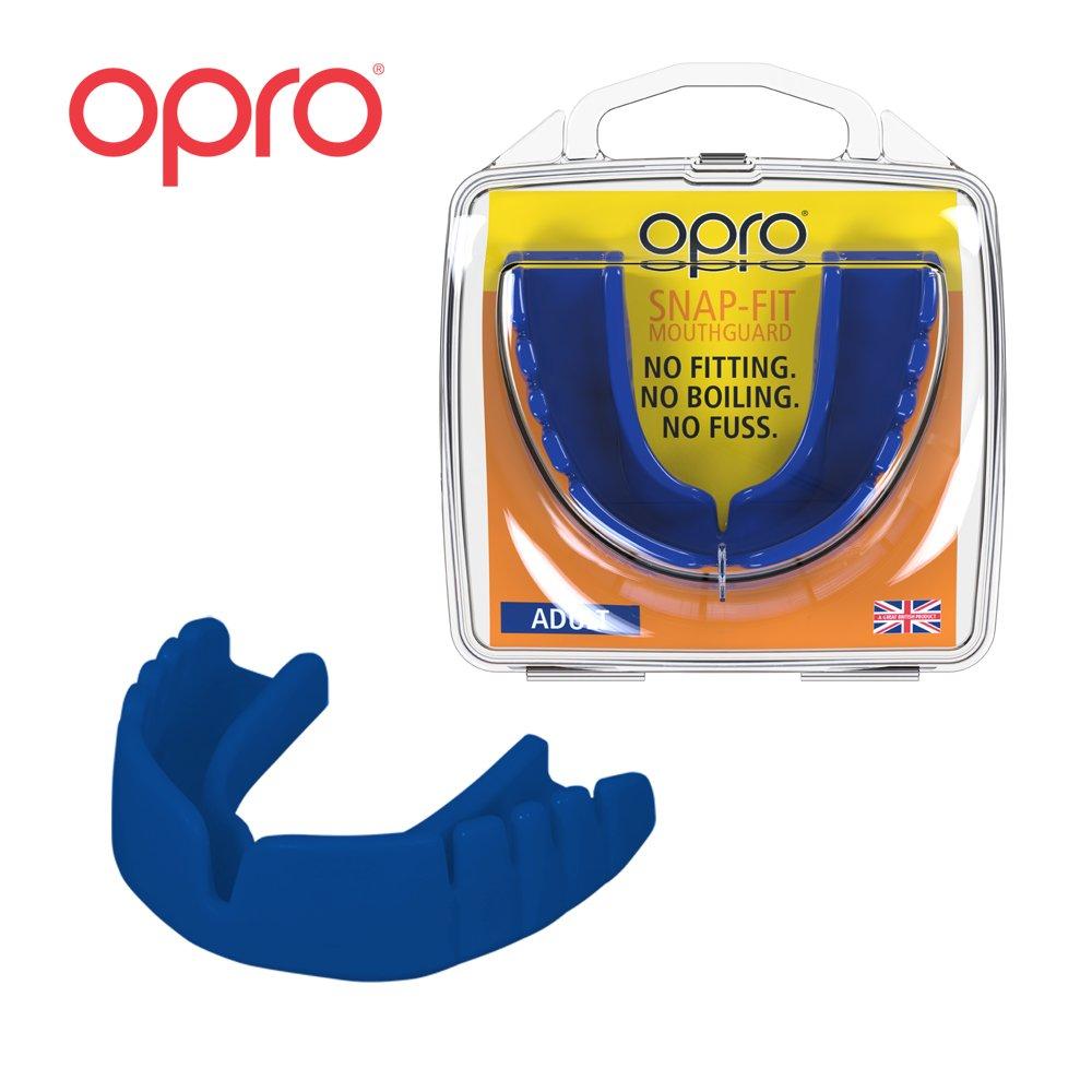 OPRO Snap-Fit - Mundschutz fü r Handball, Karate, Rugby, Hockey, MMA, Boxen, Lacrosse, American Football, Basketball - kein Anpassen, kein Kochen, keine Mü he - im UK entwickelt und hergestellt (Blau)