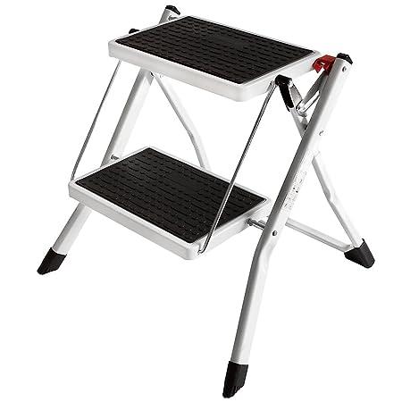 Home Discount 2 Step Stool Folding Kitchen Ladder Compact Anti Slip Mat  Tread Heavy Duty