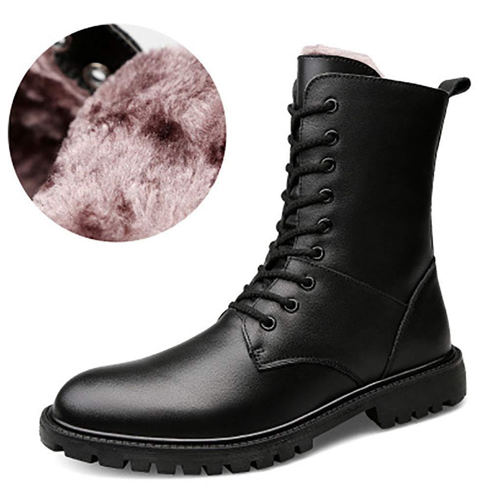 DJBJ Neue Herren-High-Top-Baumwollschuhe Herren-Lederstiefel Martin Stiefel Für Abriebfeste Warme Abriebfeste Für Wolf-Stiefel,schwarz,EU44 UK9 fa35ac