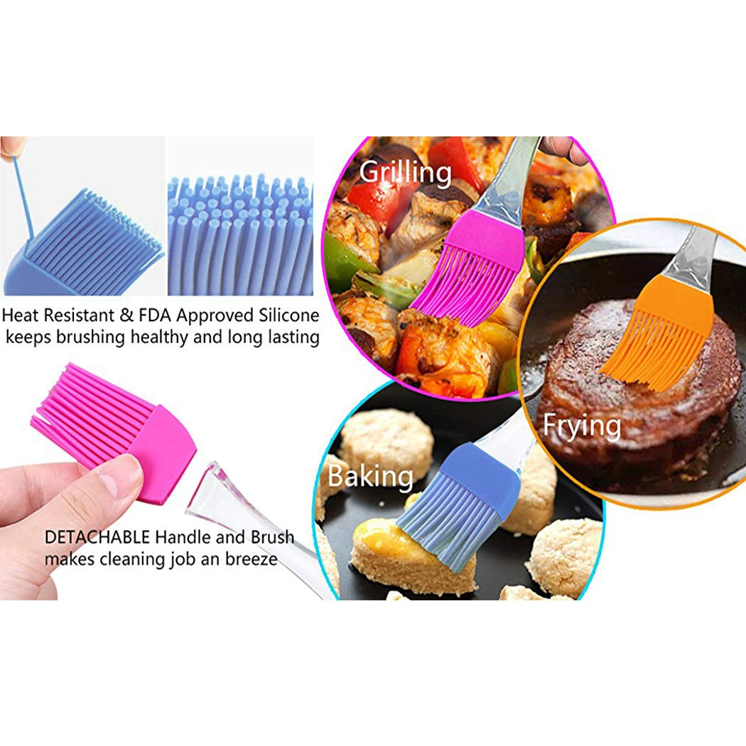 LiaoTI Silicone Basting Pastry Brushes Set of 5, Barbecue Utensil use for BBQ Meat, Cakes, Pastries-Heatproof, Dishwasher Safe Flexible Easy Clean, BPA Free and FDA Approved by LiaoTI (Image #2)