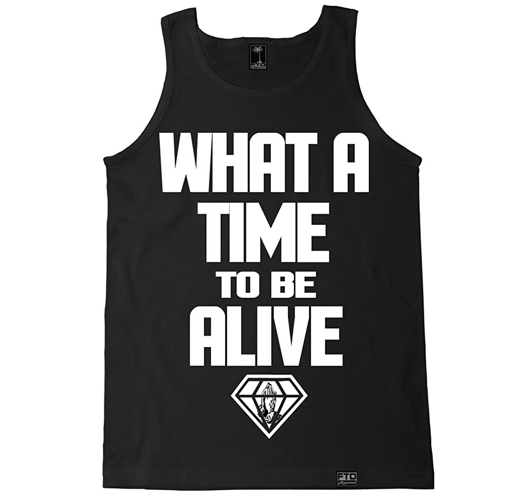 2a354115250eee Amazon.com  FTD Apparel Men s What A Time to Be Alive Tank Top  Clothing