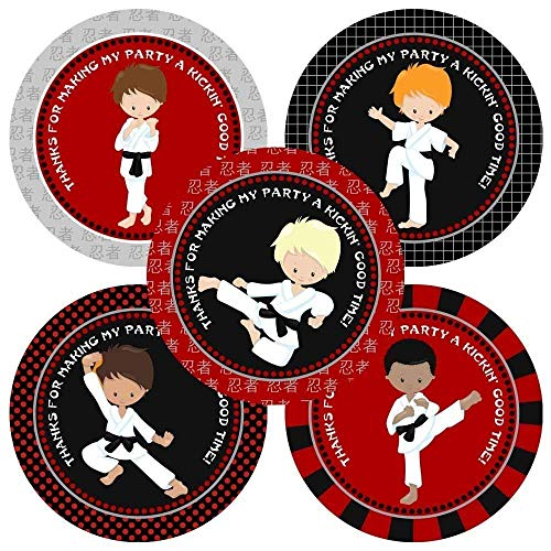 - Karate Boy Thank You Sticker Labels - Kids Birthday Martial Art Party Favor Labels - Set of 30