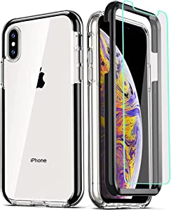COOLQO Compatible for iPhone X Case/iPhone Xs Cases 5.8 Inch, with [2 x Tempered Glass Screen Protector] Clear 360 Full Body Coverage Silicone [Military Protective] Shockproof Phone Cover - Black