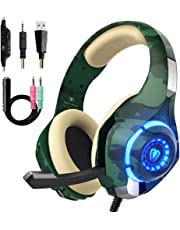 Beexcellent  - Cuffie Gaming Per PS4 Xbox One, 2019 Nuova Versione Bassi Profondi Over Ear Confortevole Headset con Microfono Isolamento Rumore di Controllo del Volume LED light per PC Mac Smartphone