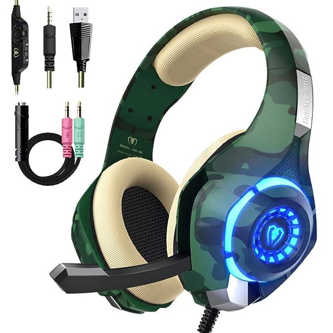 Beexcelente - Auriculares de Diadema para PS4, PC, Xbox One, Sonido estéreo sobre la Oreja con reducción de Ruido, micrófono Control de Volumen y luz LED para portátil, Tableta, Mac, iPad