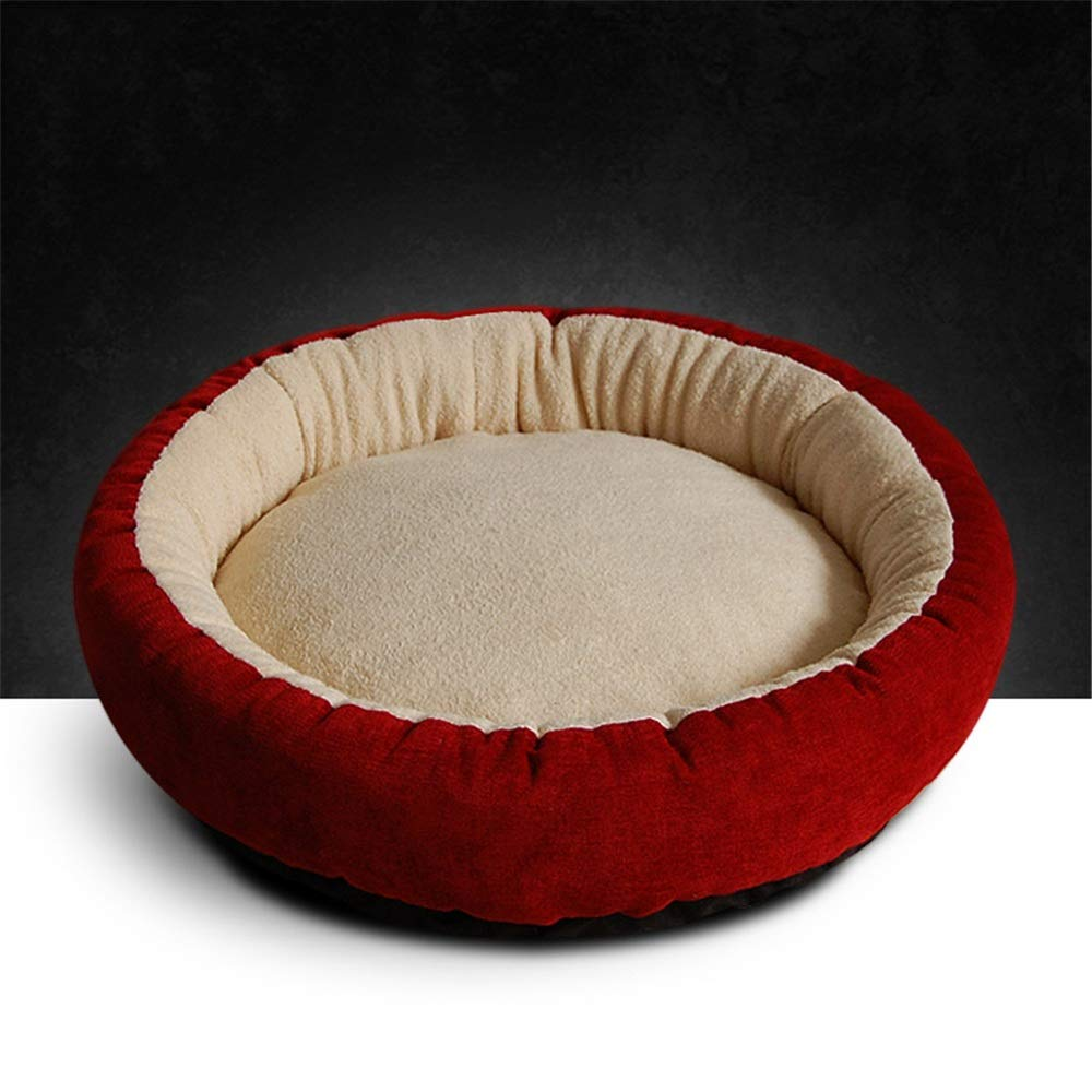 Wine red Small Wine red Small Washable Puppy pet Bed Pet Supplies Round Pet Nest Dog Litter Cat Stash Four Seasons Pet Mat (color   Wine red, Size   S)