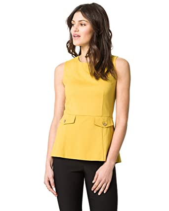 d2fd5e33e2904c Amazon.com  LE CHÂTEAU Women s Ponte Crew Neck Peplum Top  Clothing