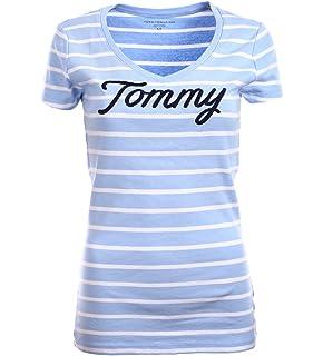 Tommy Hilfiger Damen V-Neck Shirt T-Shirt Mint-Weiß Größe XL  Amazon ... 6ea1afdc83
