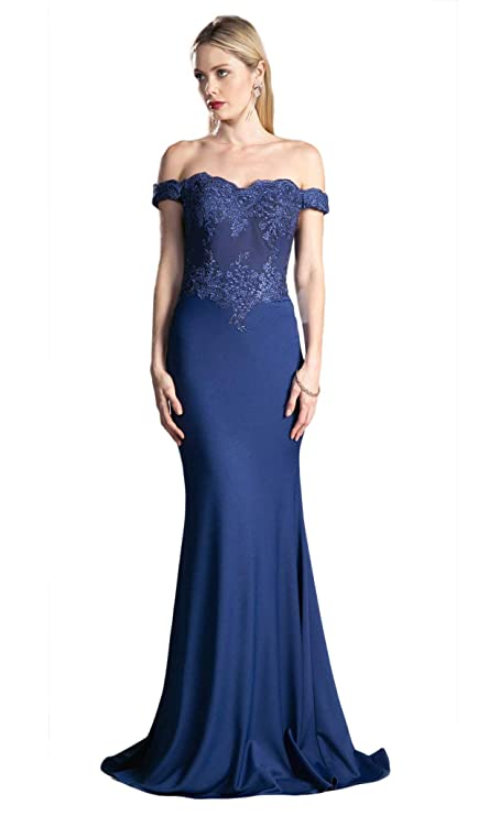 97bcbeafdab Cinderella Divine - CF158 Stretch Crepe Satin Off Shoulder Gown at Amazon  Women s Clothing store