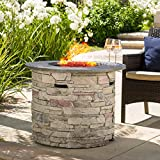 Christopher Knight Home 296659 Rogers Propane Fire Pit 32″ Top-40,000 BTU, Round, Grey