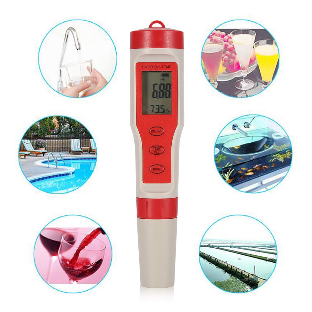 Asixx Water Quality Tester, 4 in 1 Function pH TDS EC Temp Digital Water Quality Monitor Meter Test Pen for Testing pH, TDS, EC and Temp of Water