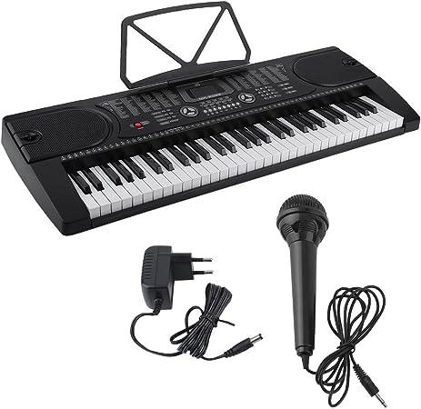 Teclados electrónicos portátil, teclado piano, Teclado estándar con 61 Brillando teclas sensibles al tacto estilo piano Con Micrófono Keyboard
