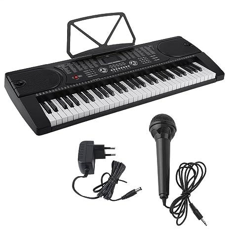 Blackpoolal Piano Digital de Múltiples Funciones Órgano Electrónico con Soporte de Micrófono Equipo Musical Herramienta de