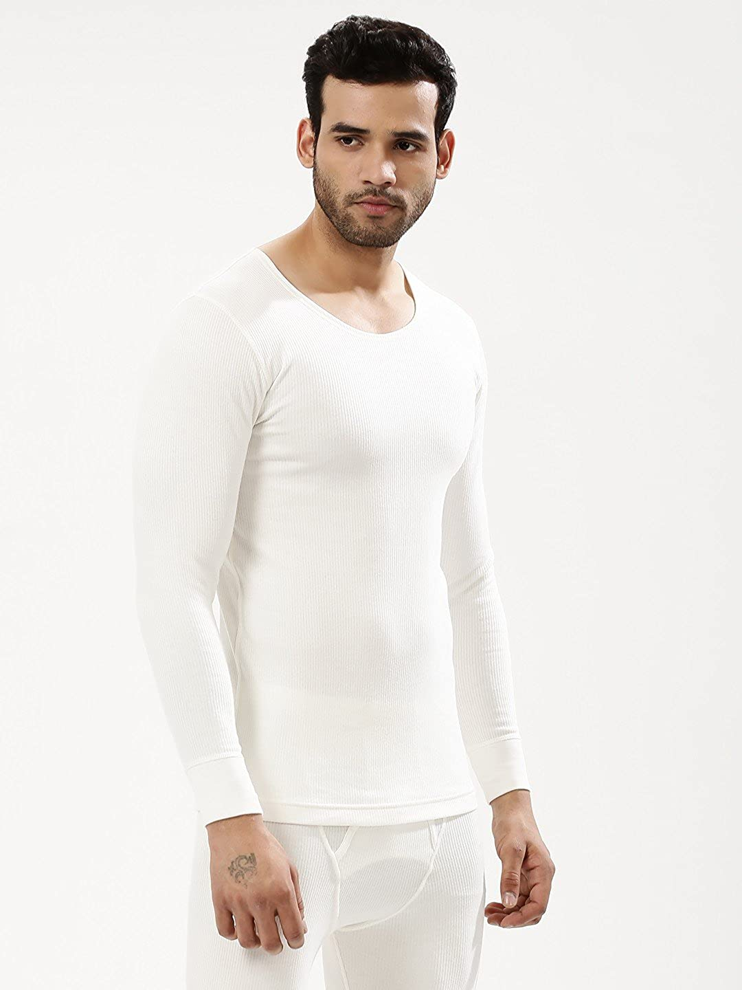 8111d7193a72 Red Hill Men s Cotton Warmer Thermal Wear Upper and Lower Set (Off-White