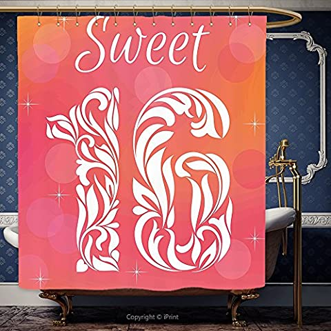 iPrint 66x72 Inch Shower Curtain 16th Birthday Decorations Greeting Happy Birth Pattern with Classic Effects Artwork Dark Coral Scarlet 00016 Polyester Bathroom Accessories Home - Seaside Dreams Panel Bed