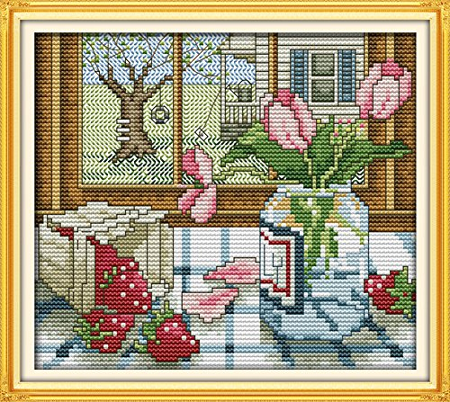 CaptainCrafts Hots Cross Stitch Kits Patterns Embroidery Kit - The Spring Outside The Window - Creek Springs Hot Little Hot