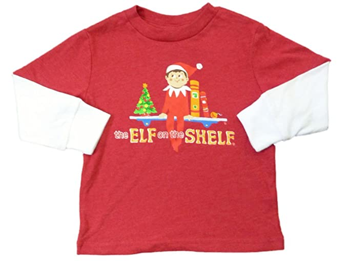 bae5ba223 Image Unavailable. Image not available for. Color: The Elf On The Shelf  Infant & Toddler Boys Red Long Sleeve Christmas T-Shirt