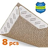 Rug Grippers X-PROTECTOR –Best 8 pcs Anti Curling Rug Gripper. Keeps Your Rug in Place & Makes Corners Flat. Premium Carpet Gripper with Renewable Gripper Tape – Ideal Anti Slip Rug Pad for Your Rugs