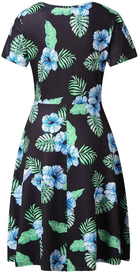 Dress for Women,AIMTOPPY Womens Summer Short Sleeve Print O Neck High Waist Casual Mini A-Line Dress