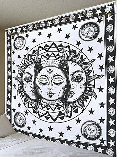 Black and White Sun Moon Tapestry Psychedelic Celestial Indian Sun Hippie Hippy Tapestry Wall Hanging Throw Hippie Hippy Window Doorway Door Curtain by Jaipur Handloom
