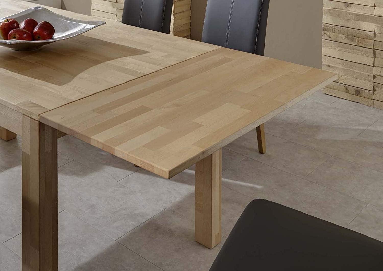 Massivholz Tisch Barni SAM Esszimmertisch 180x90 cm Kernbuche massiv Optionale Ansteckplatten