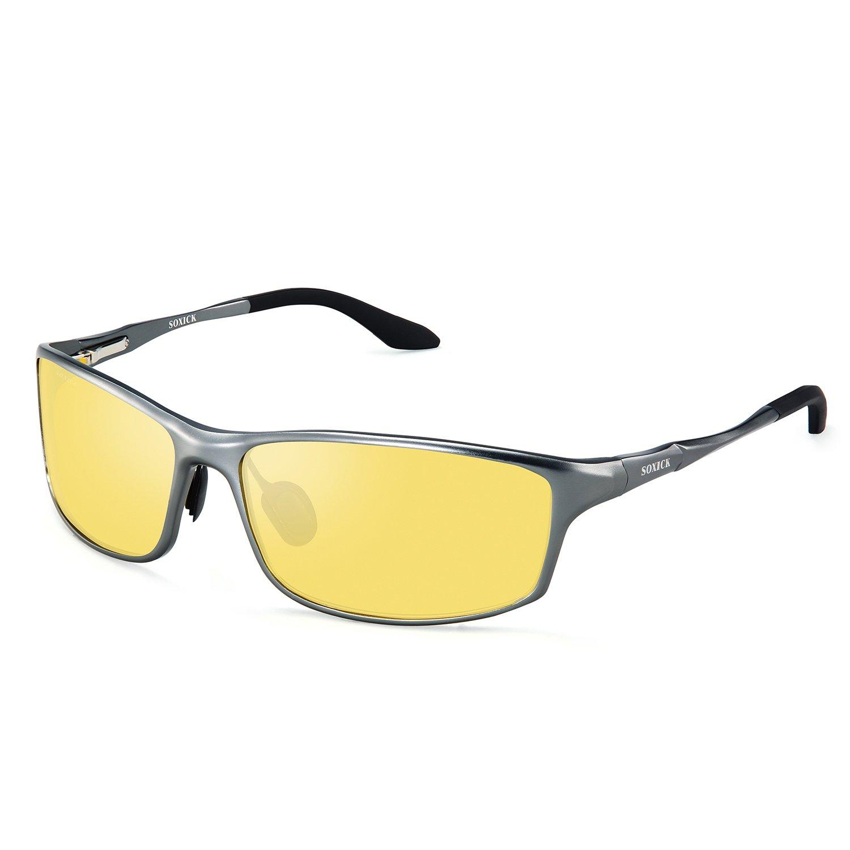 SOXICK HD Night Vision Driving Anti-Glare Glasses for Men Women Rainy Safe Polarized Fashion Sunglasses (Night vision glasses Grey2)