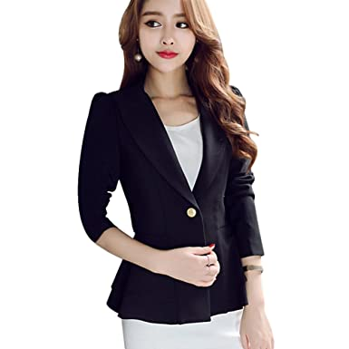 baaa0ef5632a0 Tidecc Womens One Button Blazer Jacket Long Sleeve Fitted Peplum Jackets  Ladies Slim Fit Flared Frill Blazer Jacket  Amazon.co.uk  Clothing