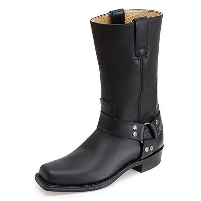 74d21ba2c Sendra 1918 Ladies Cowboy Boots Black Leather Western Biker Handmade Unisex  (Men UK 6 /