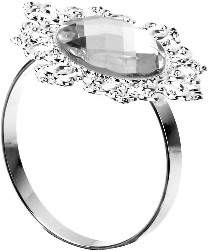 Rosenice color plateado decoraci/ón de mesa de bodas 12 servilleteros de cristal en forma de flor
