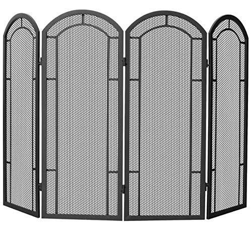 Ellia- Large Fireplace Screen Gate-Beauty in Any Season-Maximum Coverage and Protection-Color Black Wrought Iron Four Panel