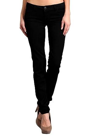 e58d514d76be78 Celebrity Pink Women's Mid Rise Colored Skinny Pants CJ21038Z35 (Black, ...