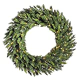 Vickerman Pre-lit Imperial Pine Artificial Wreath with 50 Warm White LED Lights, 36 Inch