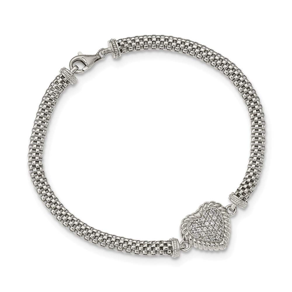 925 Sterling Silver White Sapphire Heart Mesh Link Bracelet 7.5 Inch/love Fine Jewelry Gifts For Women For Her