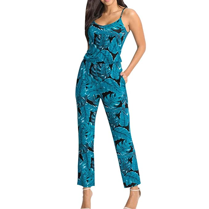 UK Womens Summer Sleeveless Floral Jumpsuit Romper Ladies Holiday Beach Trousers