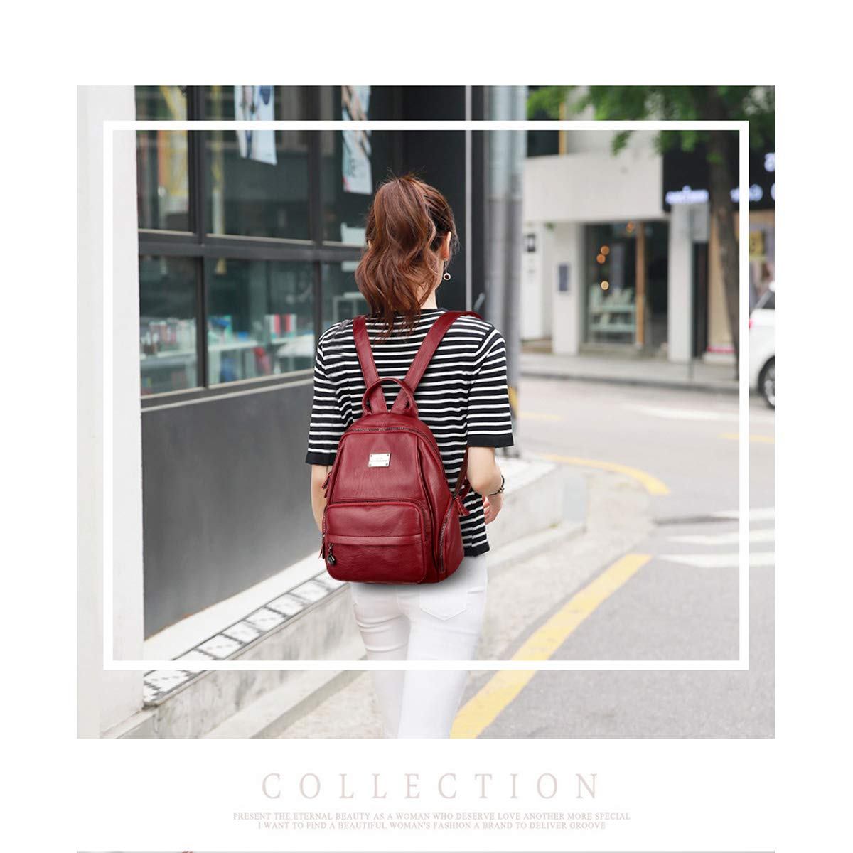 PU Leather Five Colors Sleek and Simple. Color : Black, Size : 30cm32cm14cm Haoyushangmao Girls Multi-Purpose Backpack for Daily Travel//Outdoor//Travel//School//Work//Fashion//Leisure