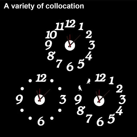 eDealMax EVA DIY 3D Tiempo de pared del número del reloj del arte de la etiqueta engomada desprendible del sitio casero de la decoración de la oficina, ...