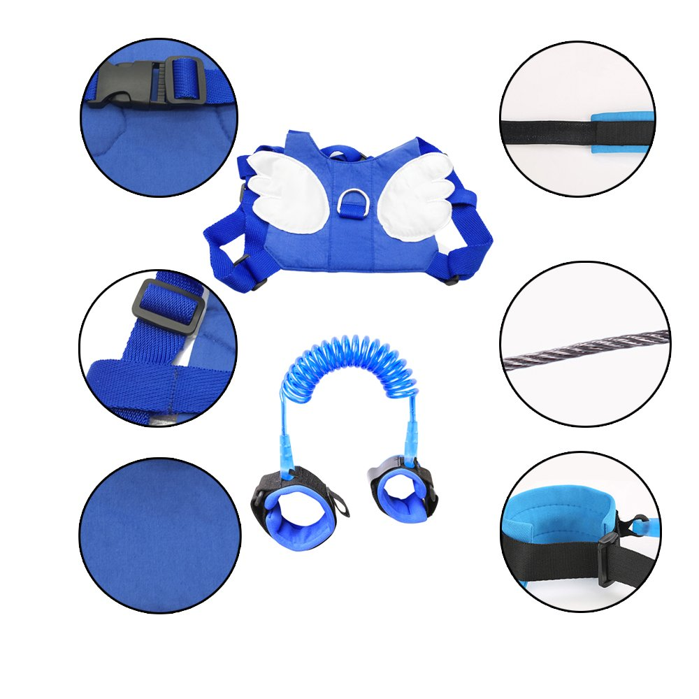 (2 kit)Anti Lost Wrist Link 2 meters Wrist Leash for Kids & Toddlers Child Safety Wristband (Blue) by MPAYIXUNGS (Image #5)