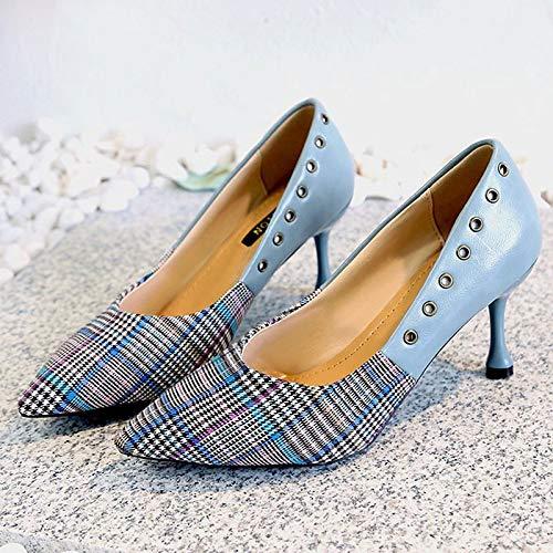 PU Women's Polyurethane Heel Black Brown Toe Black Basic Pump Summer Shoes Blue Heels ZHZNVX Stiletto Pointed 1EqWwdCpd