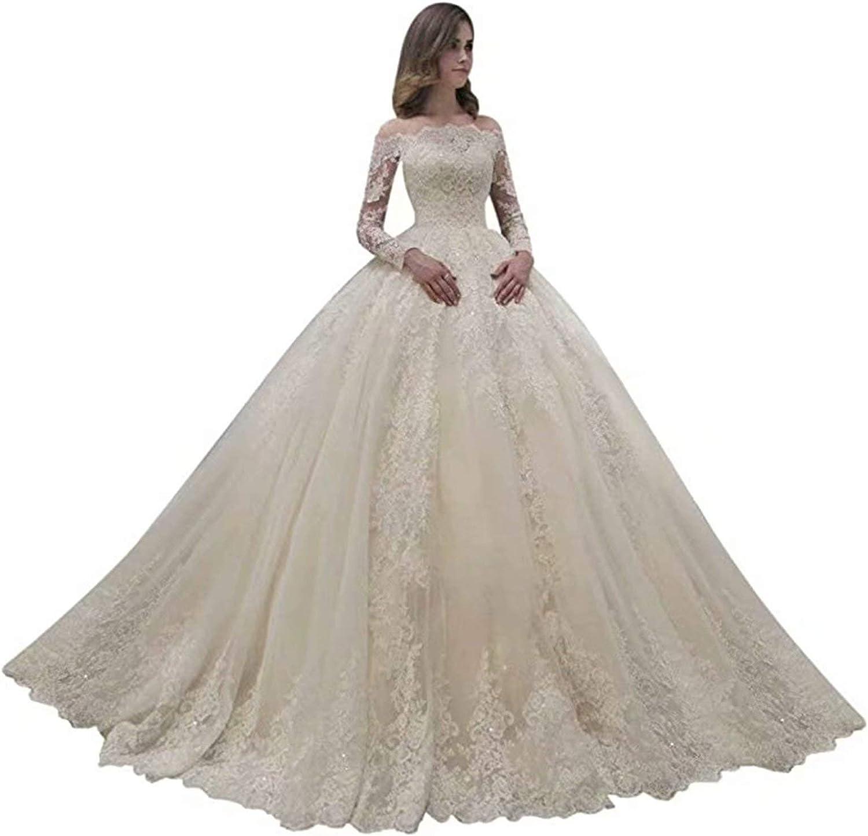 lang/ärmelig wei/ß schulterfrei Spitze Brautkleider A-Linie elfenbeinfarben Fankeshi Damen-Hochzeitskleid